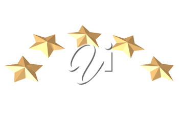 Gold Stars. Isolated on white. Three dimensional render.