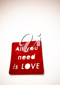 Dimensional inscription All you need is LOVE on background. 3D rendering.