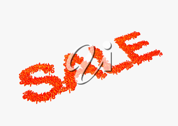 Dimensional inscription of SALE isolated. 3D rendering.