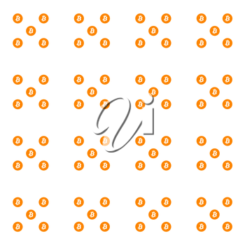 Digital Virtual Cryptocurrency Bitcoin Orange Icons Abstract Background. 3D illustration.
