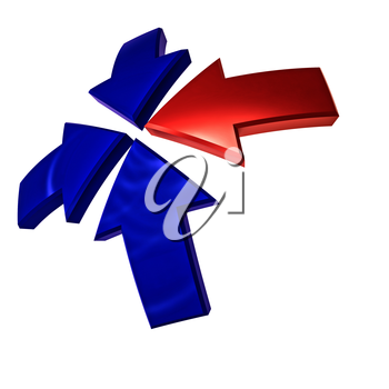 Three blue and one red arrows pointing from all quarters to the center. 3D rendering