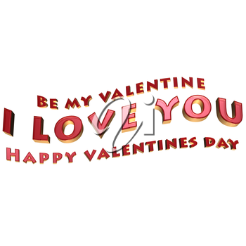 Royalty Free Clipart Image of Glossy Inscription for Valentine's Day
