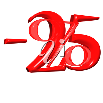 Royalty Free Clipart Image of a Glossy 25 Percent