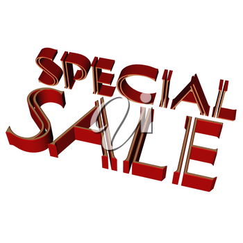 Glossy red three-dimensional inscription Special Sale as a sign.