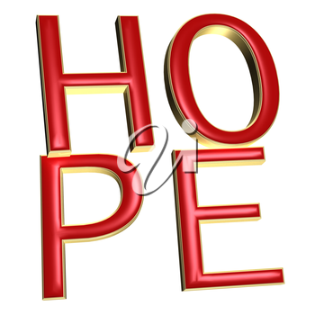 The three-dimensional word hope isolated on a white background.