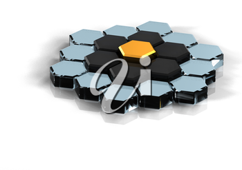 Yellow hexagonal background for business. Three-dimensional concept rendered.