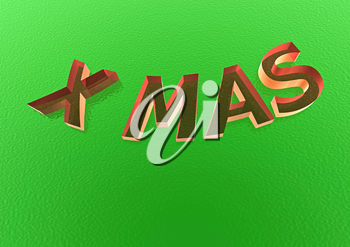Three-dimensional inscription X mas. Creative greeting card design.