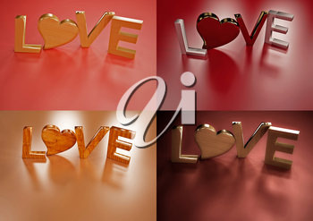 Set of pictures dimensional inscription of LOVE and heart near it.