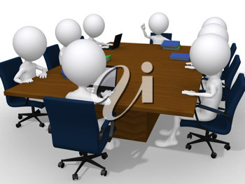 Royalty Free Clipart Image of Figures in a Meeting