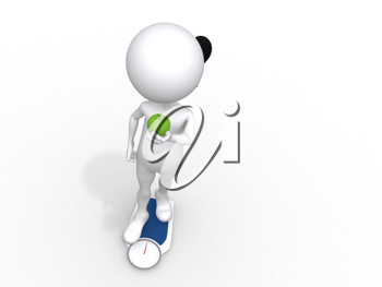 Royalty Free Clipart Image of a Figure on a Scale