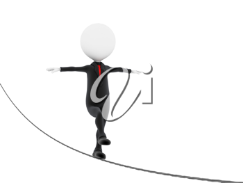 Royalty Free Clipart Image of a Businessman on a Tightrope