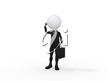 Royalty Free Clipart Image of a Figure Talking on a Cell Phone