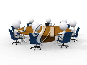Royalty Free Clipart Image of Figures at a Business Meeting