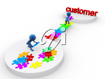 Royalty Free Clipart Image of Puzzles and People Building Towards the Word Customer