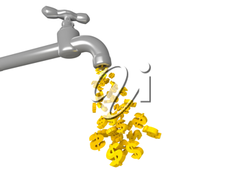 Royalty Free Clipart Image of a Golden Dollars Dripping From Tap
