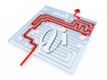 Royalty Free Clipart Image of a Labyrinth With a Red Line Pointing Out