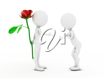 Royalty Free Clipart Image of a Figure Giving Another Figure a Flower