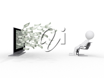 Royalty Free Clipart Image of a Man Sitting in Front of a TV With Money Flying Out of It