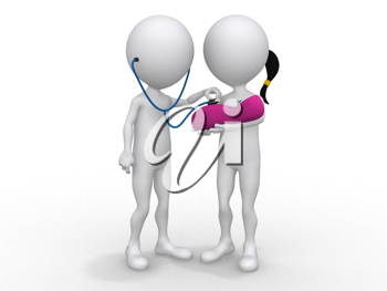 Royalty Free Clipart Image of Figures Holding a Baby Checking a Heartbeat