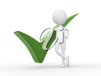 Royalty Free Clipart Image of a Figure Standing Beside a Green Checkmark