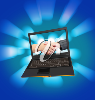 Royalty Free Clipart Image of a Laptop Showing a Handshake