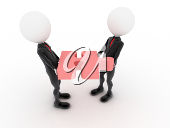 Royalty Free Clipart Image of Figures Holding a Puzzle Piece