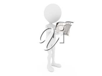 Royalty Free Clipart Image of a Person Reading the News