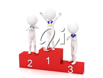 Royalty Free Clipart Image of People On a Podium