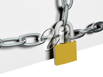 Royalty Free Clipart Image of a Steel Chain Lock