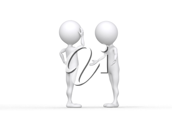 Royalty Free Clipart Image of a Figures in a Discussion