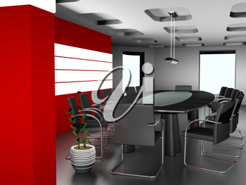 Royalty Free Clipart Image of a Modern Office Setting