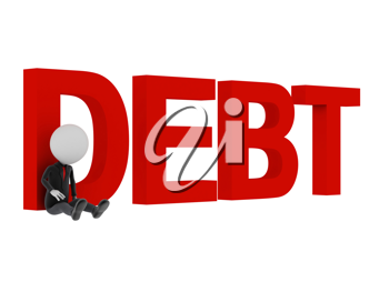 3d man sitting sad with text 'debt'.