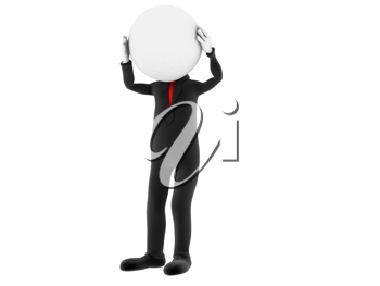 3d small person holding his head with his hands. 3d image. Isolated white background.