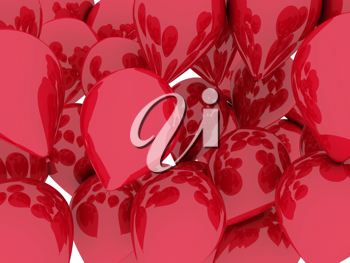 A bunch of red balloons floating. 3d illustration isolated over white
