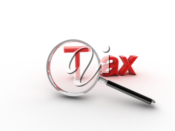 3d imagen to a magnifying glass and word tax.