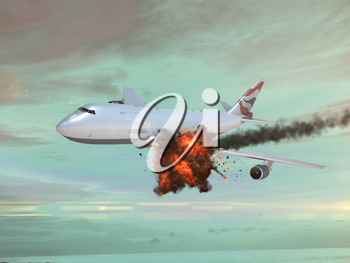 Airplane with an explotion in the sky