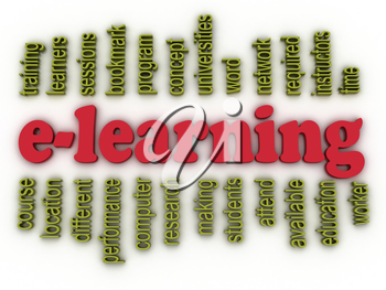 3d image e-learning concept word cloud background