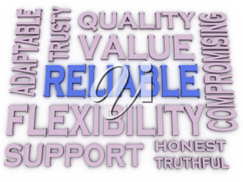 3d imagen Reliable issues concept word cloud background