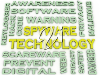 3d image Spyware Technology  issues concept word cloud background