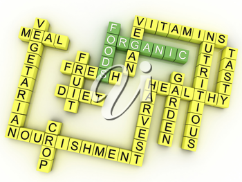 3d image Organic Foods issues concept word cloud background