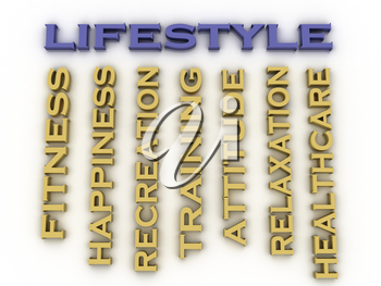 3d image Lifestyle issues concept word cloud background