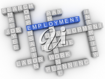 3d image Employment  issues concept word cloud background