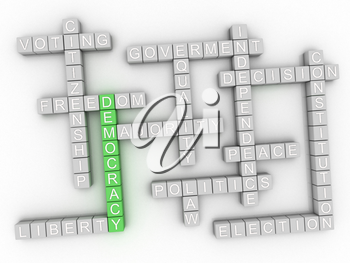 3d image Democracy issues concept word cloud background