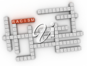 3d image Racism issues concept word cloud background