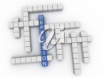 3d image Depression issues concept word cloud background