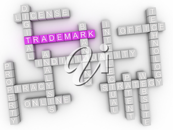 3d image Trademark word cloud concept