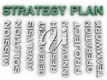 3d image Strategy plan issues concept word cloud background