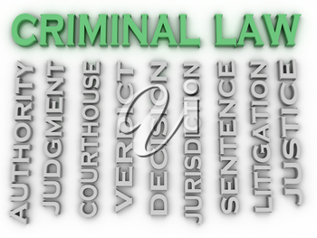 3d image Criminal law word cloud concept