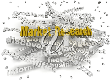 3d image Market Research word cloud concept