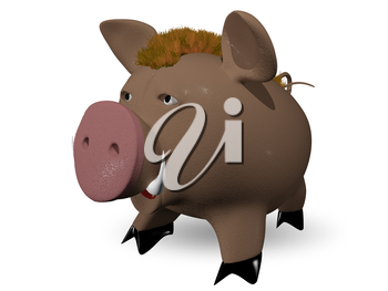 3d illustration of a wild boar redhead